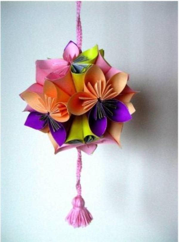 Цветочные шары из цветной бумаги своими руками 86