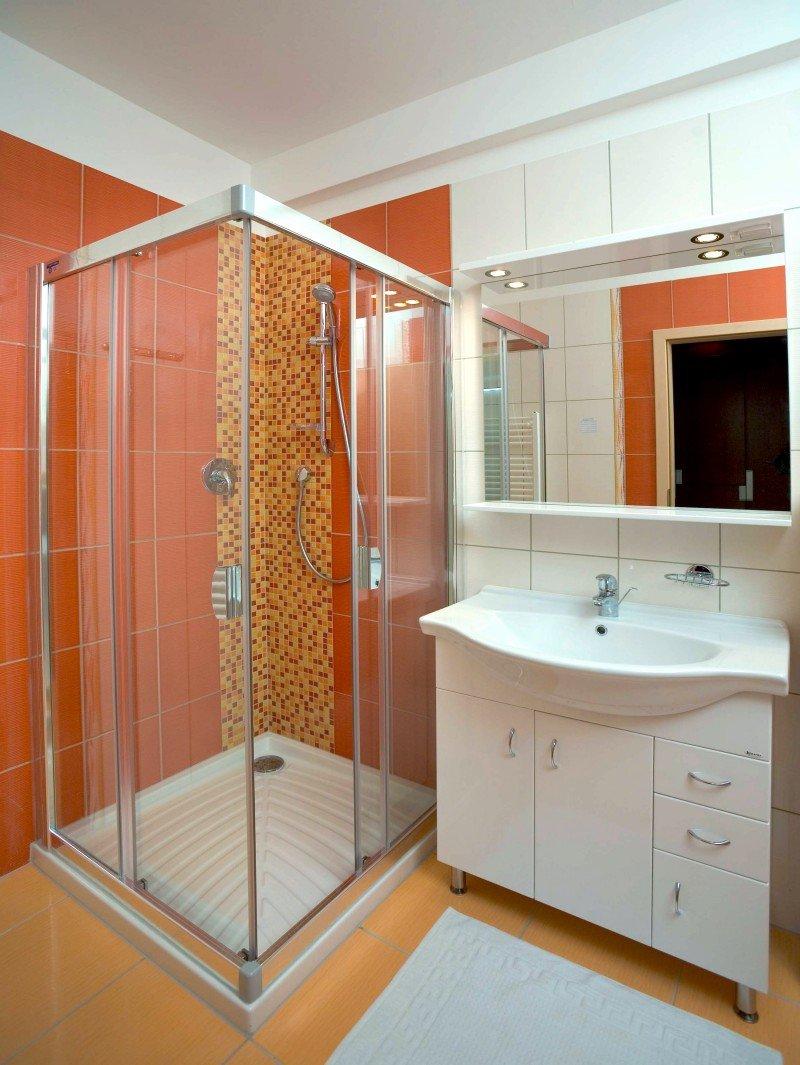 Интерьер в ванной комнате с душевой кабиной фото