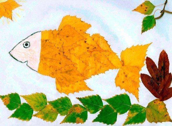 Осенние аппликации своими руками для детского сада из листьев