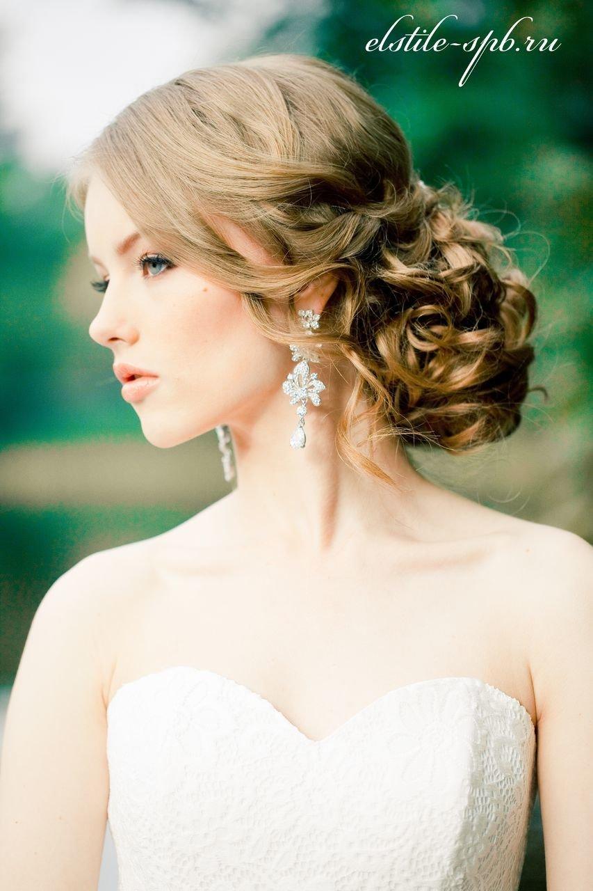 Современные свадебные прически на средние волосы фото