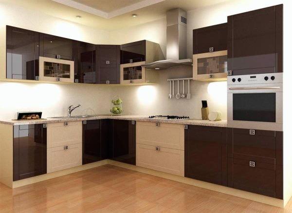 Бежево коричневая кухня дизайн