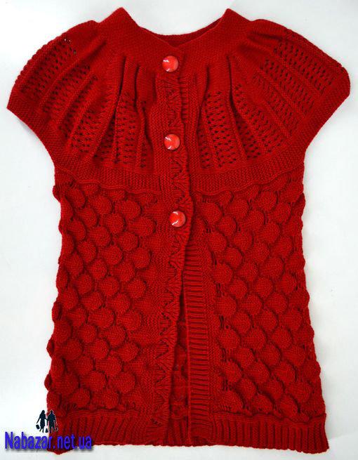 Вязание спицами безрукавок для девочки 708