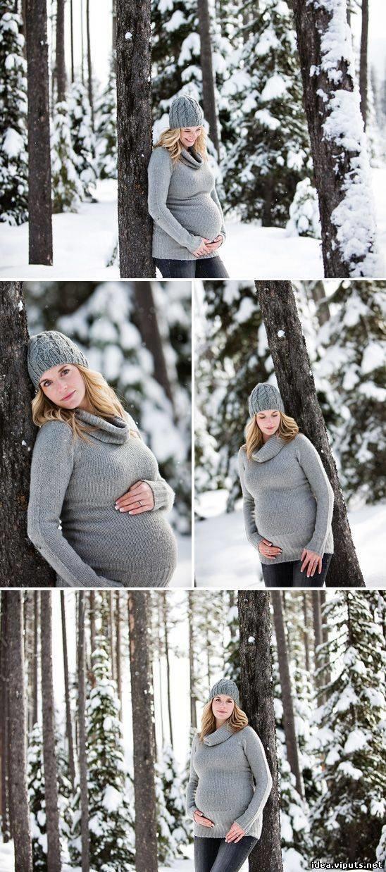Идеи фото для беременных зимой фото