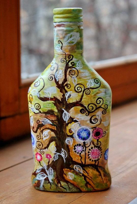 Мастер класс по росписи бутылок акриловыми красками