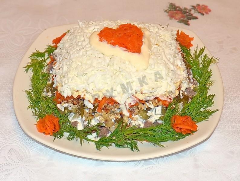 Салат из сердца говяжьего с грибами рецепт с