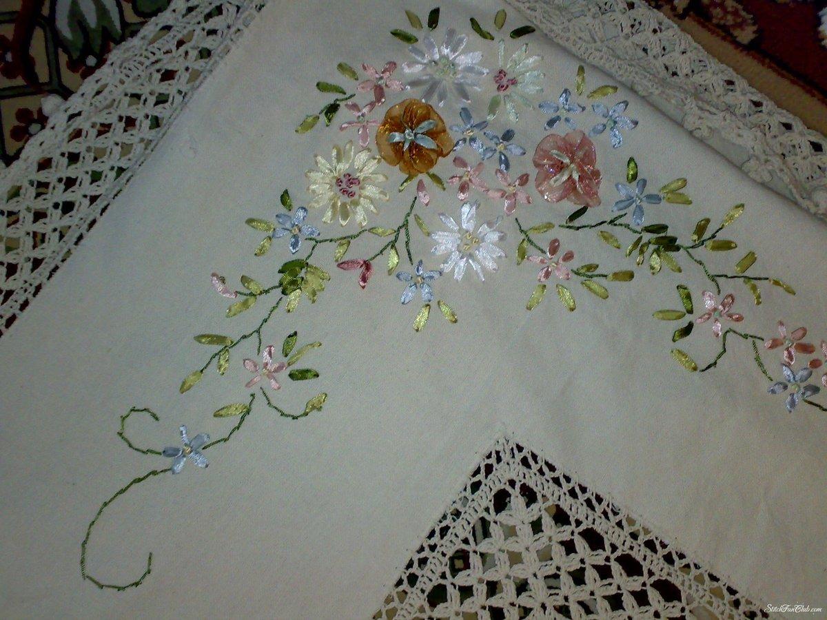 Вышивка на скатертях своими руками
