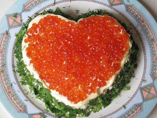 Салат царский с креветками и красной икрой рецепт