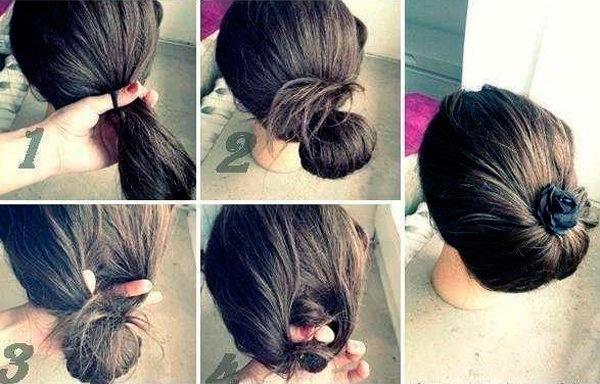 Красивая причёска на средние волосы своими руками за 5 минут