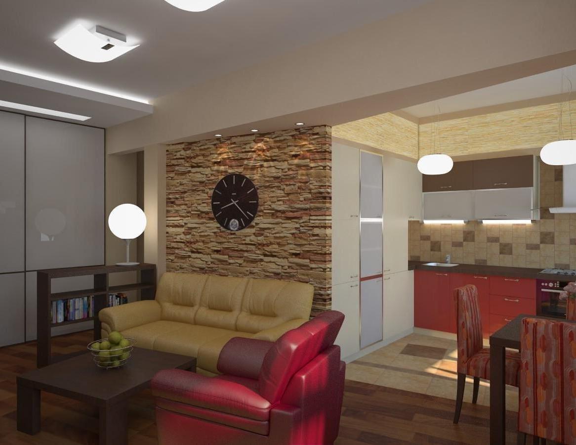 Красивые дизайны гостиной вместе с кухней