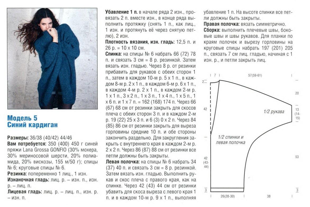Схемы по вязанию женских кардиганов 187