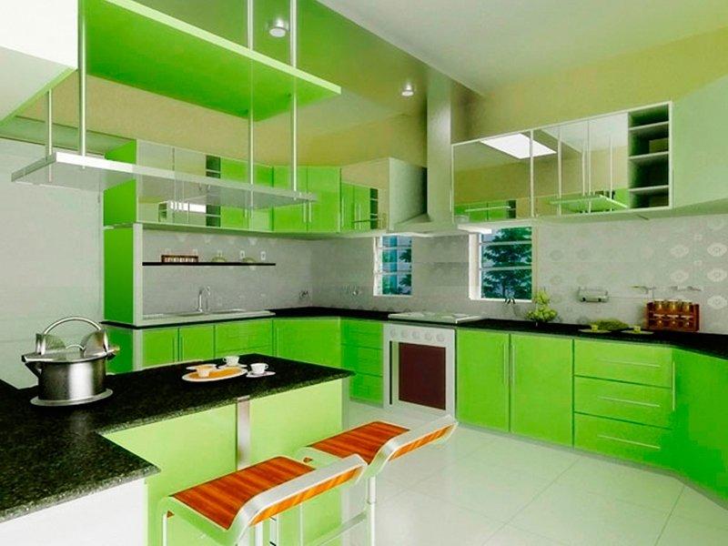 Салатовая кухня дизайн интерьера