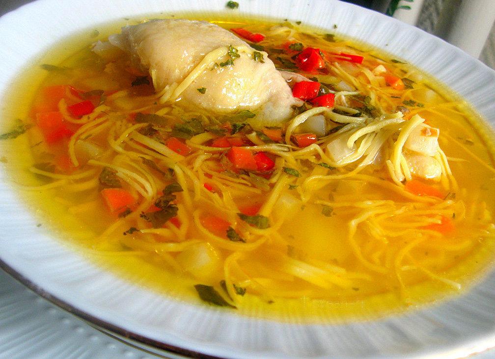 Суп куриный с домашней лапшой пошаговый