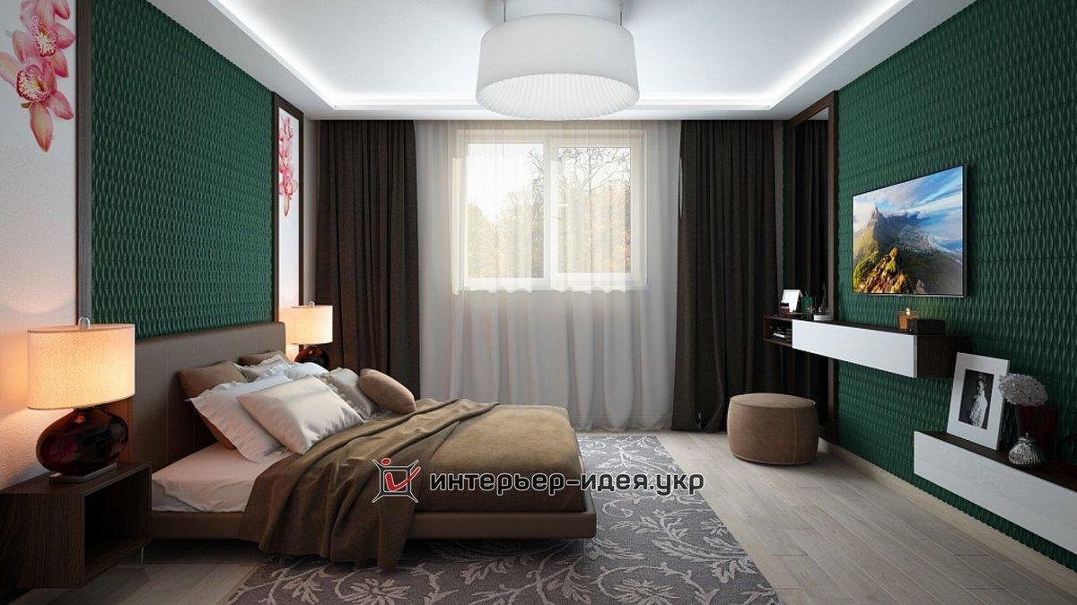 Дизайн спальни в изумрудных тонах
