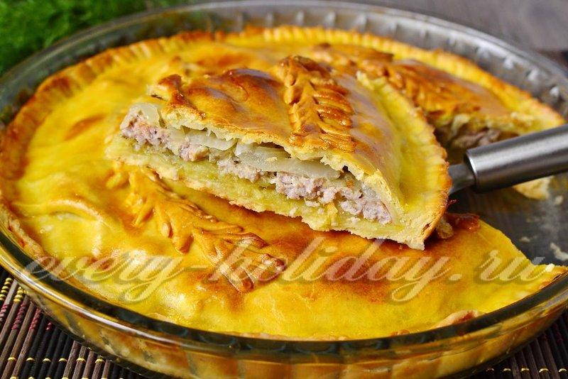 Рецепт пирога с фаршем и картошкой в духовке