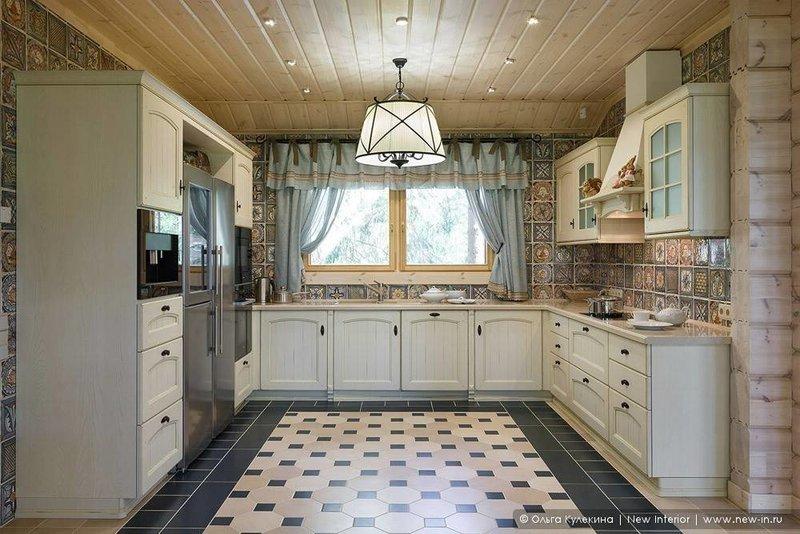 Дизайн кухни в стиле прованс в загородном доме