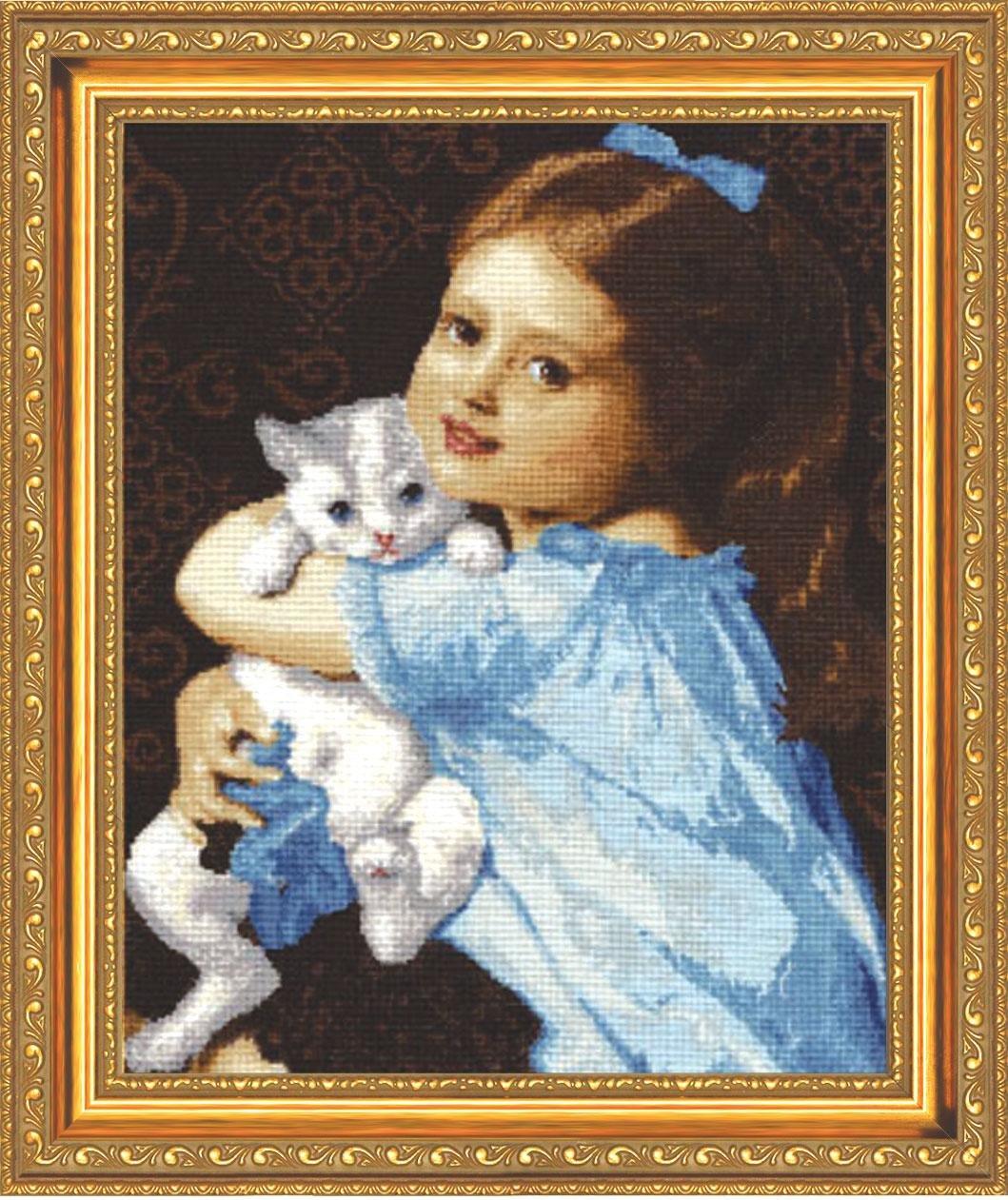 Вышивка девочка и кот 92
