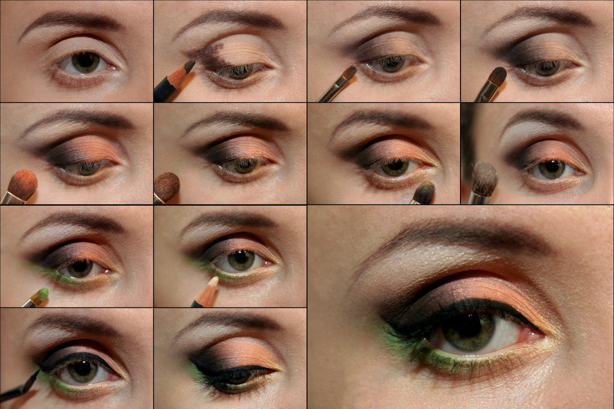 Как красиво красить тенями глаза пошагово фото