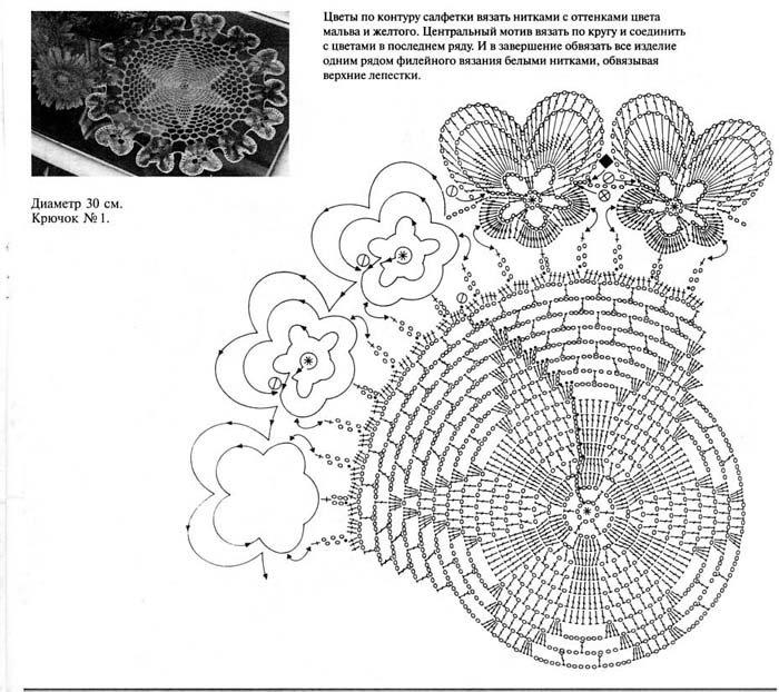 Вязание крючком объемных салфеток схемы 79
