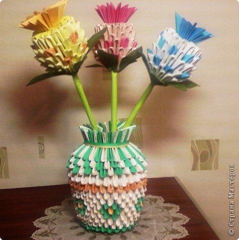 Как сделать цветок в вазе модульное оригами