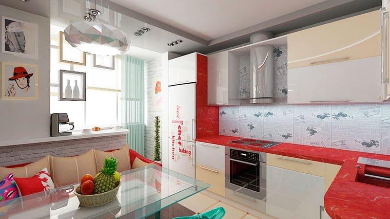 Дизайн интерьера кухни с балконом 9 кв