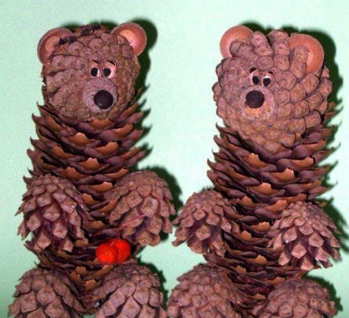 Поделки из шишек животных своими руками