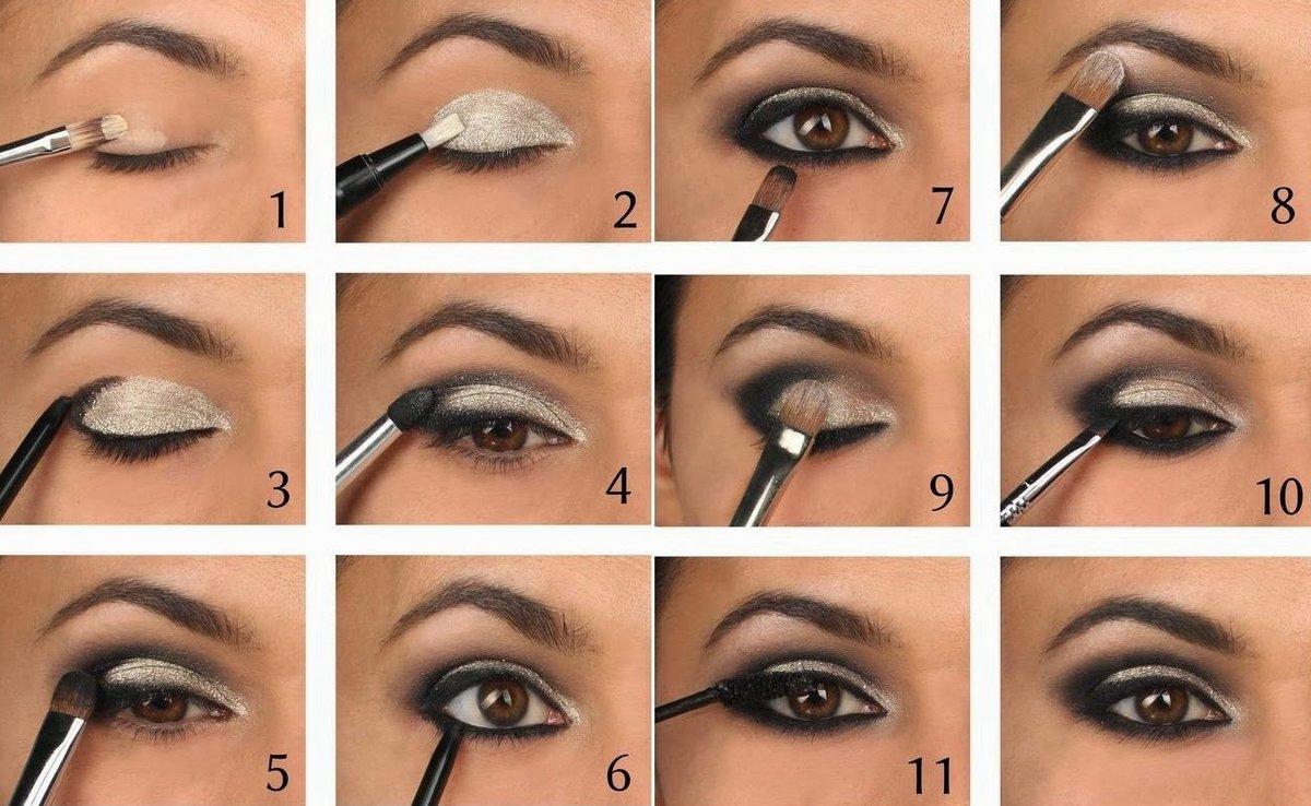 Повседневный макияж для карих глаз пошагово фото