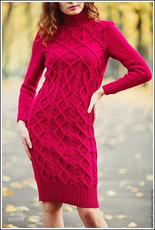 Вязание теплого платья на спицах для 190