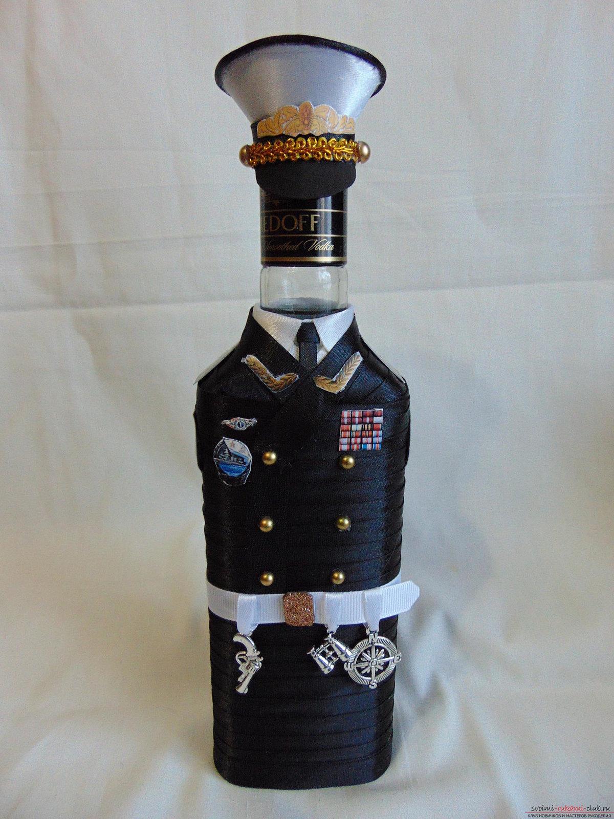 Бутылка к 23 февраля своими руками