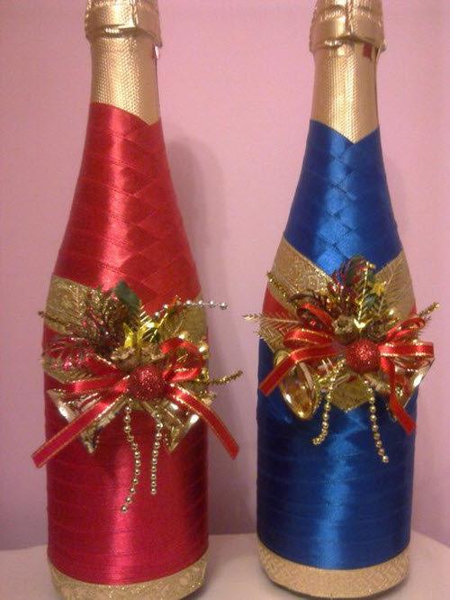 Декорирование бутылки к новому году