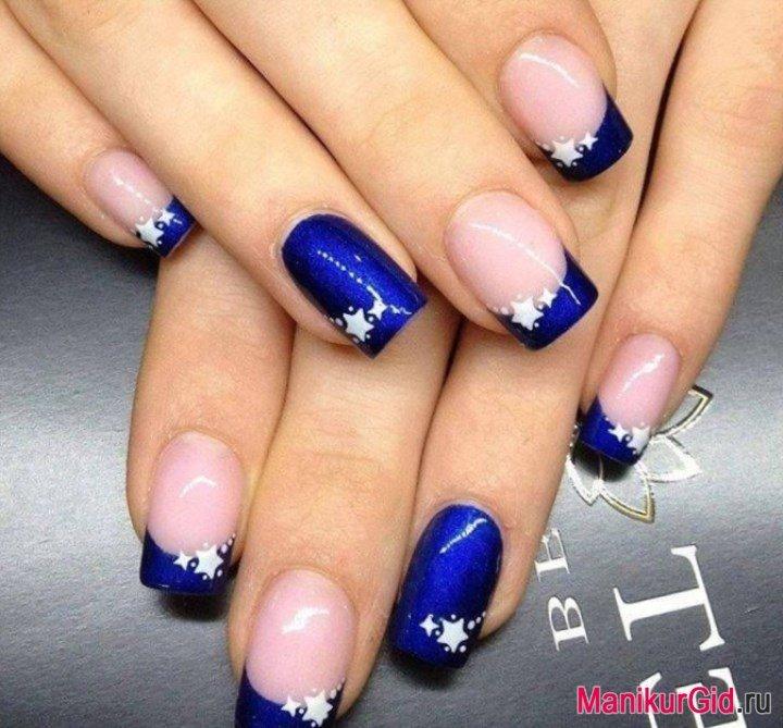 Дизайн ногтей синий френч