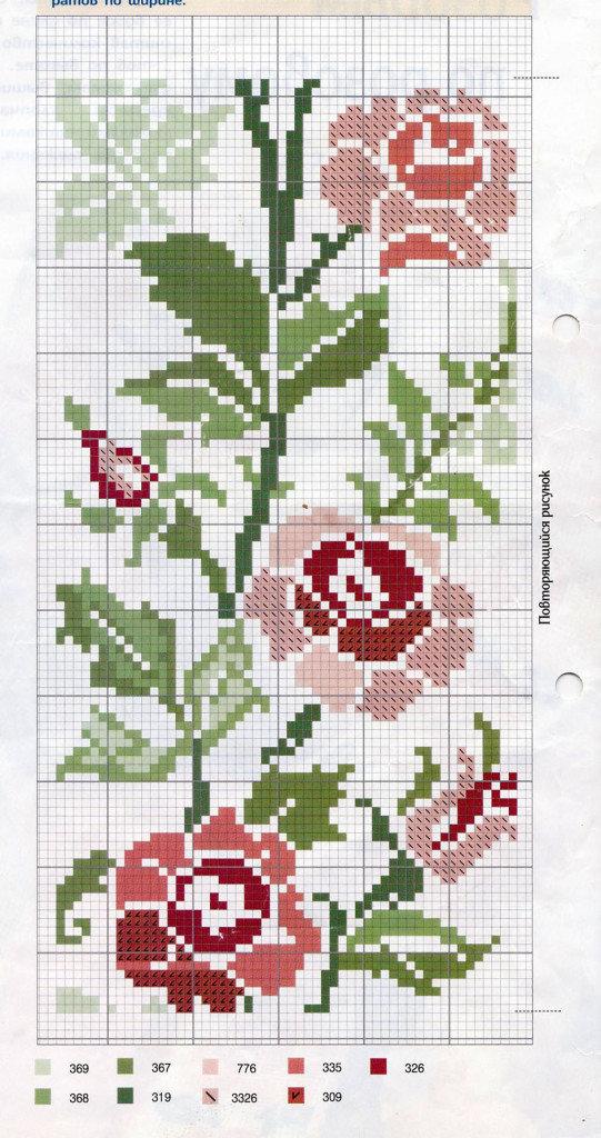 Бордюр розы вышивка крестом 6