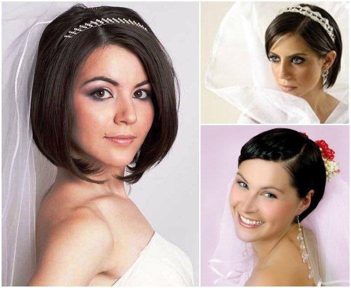 Прически невесты на каре