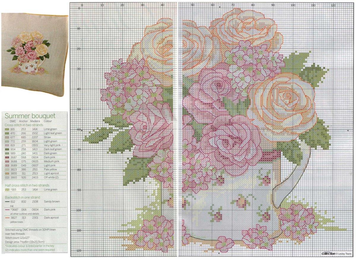 Вышивка подушки крестом роза схема