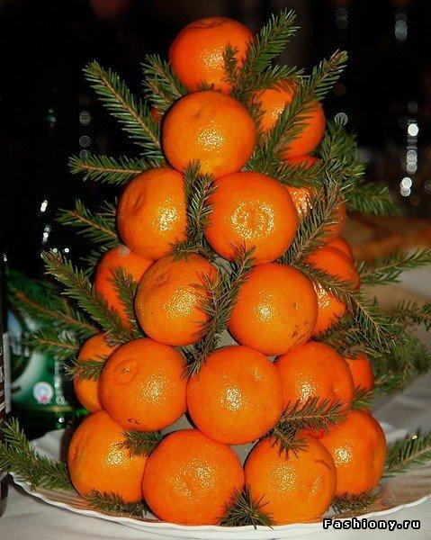 Как сделать елку из мандаринов?