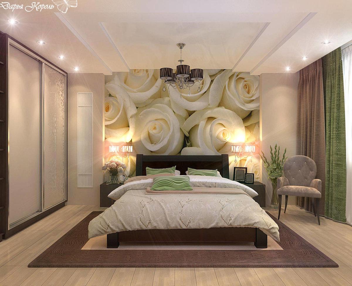 Фото интерьер спальни с фотообоями