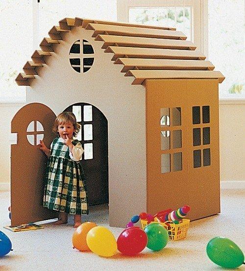Домик из картона для ребёнка своими руками