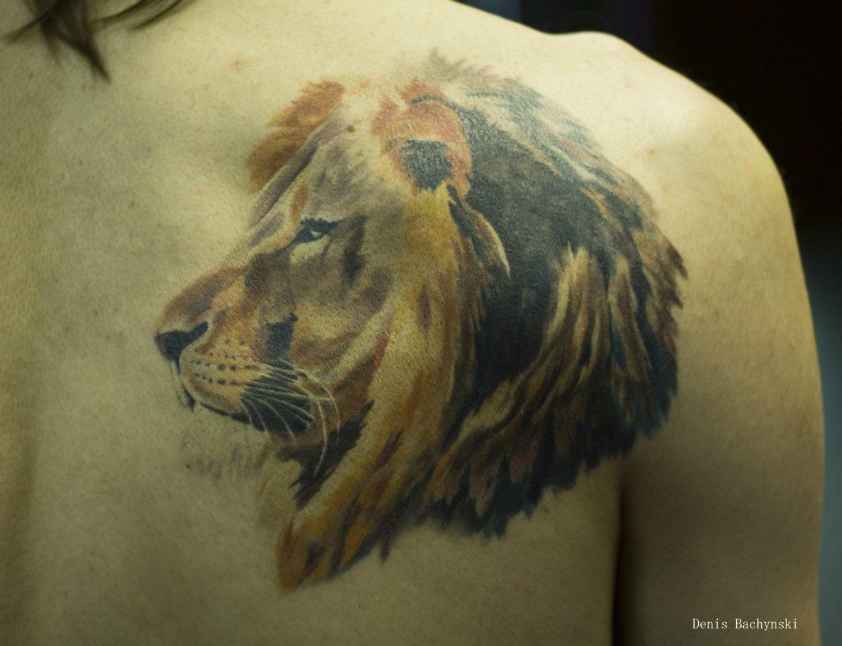 Фото тату льва на спину