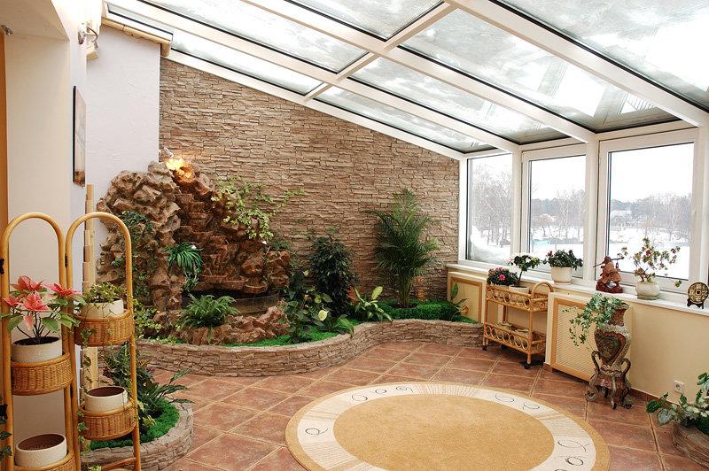 Интерьер зимнего сада в загородном доме фото