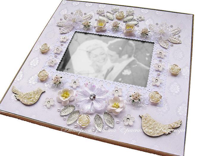 Декор свадебной рамки для фото своими руками 35