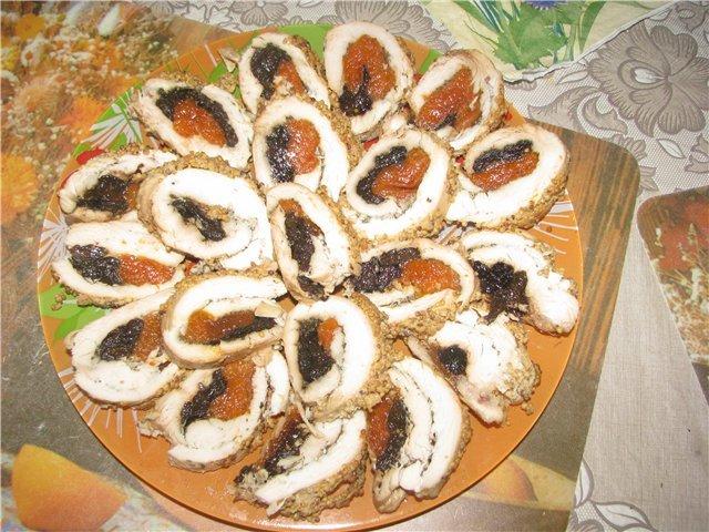 Куриный рулет с черносливом рецепт пошагово