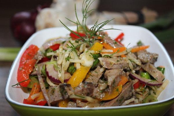 Мясной салат с языком рецепты простые и вкусные