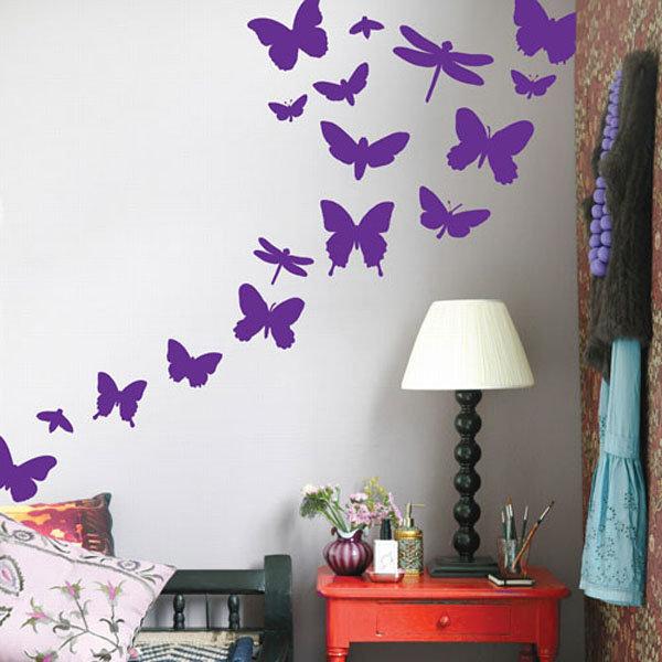 Трафареты бабочки декор стен фото