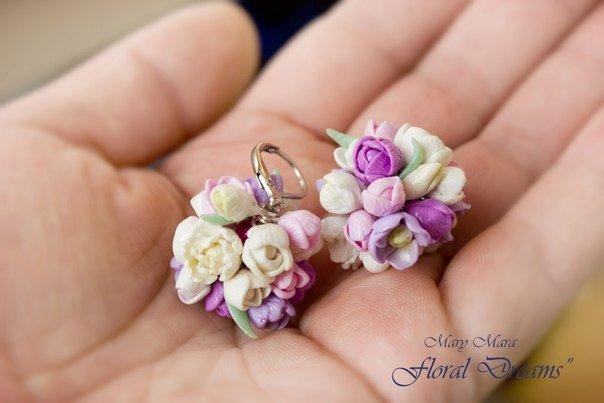 Цветы серьги из полимерной глины
