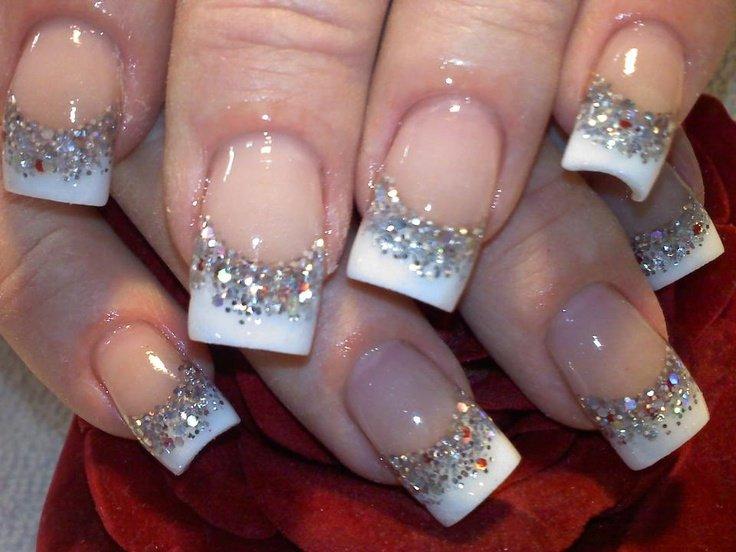 Фото ногтей белый френч с блестками