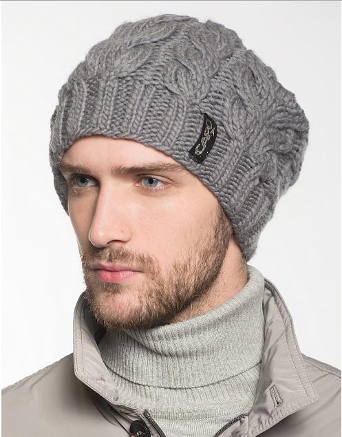 Вязание шапок спицами для мужчин модные модели 2018 14