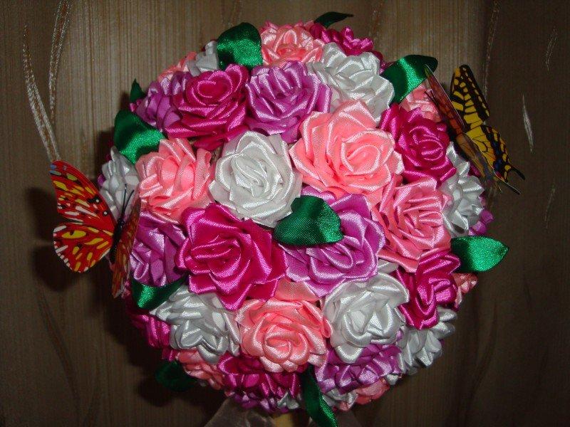 Цветы из лент для топиария
