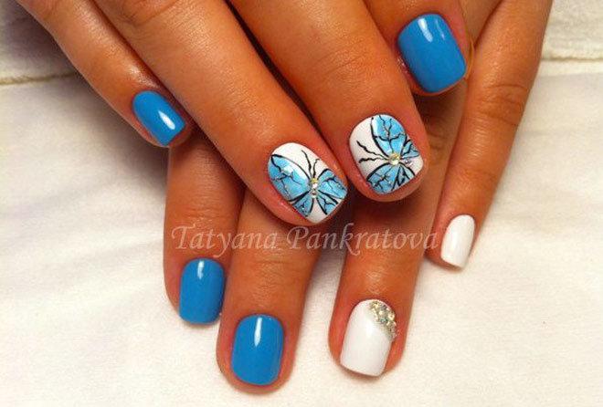 Маникюр бабочки на короткие ногти