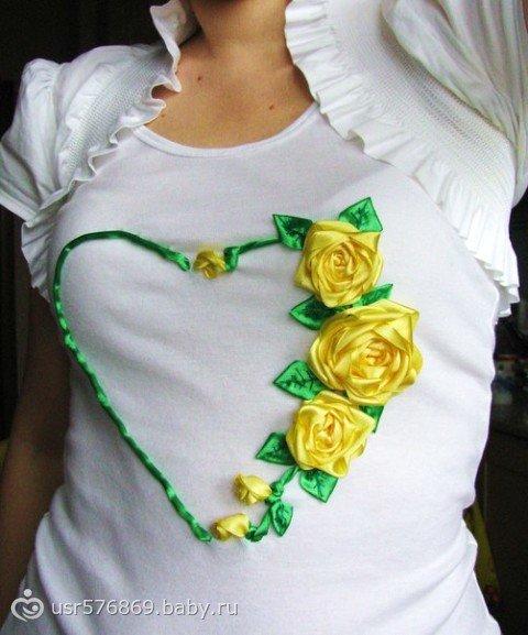 Украсить платье атласными лентами своими руками 75