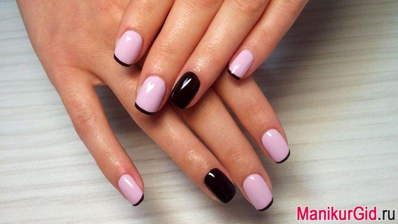 Розовый с черным маникюр на короткие ногти