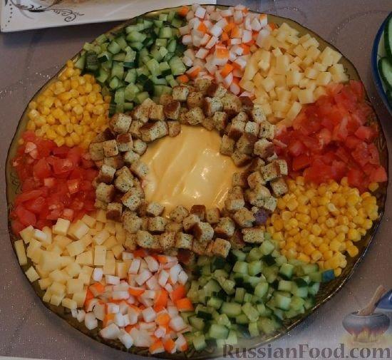 Салат с крабовыми палочками кириешками
